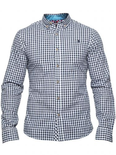 MISH MASH MEN'S DESIGNER RSVP GINGHAM CHECK LONG SLEEVE BUTTONED CASUAL SHIRT
